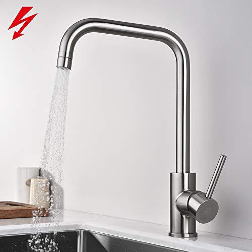 Homelody Niederdruck Wasserhahn Küche Armatur Spültischarmatur Niederdruckarmatur Mischbatterie Spülbecken Küchenspüle Einhebelmischer