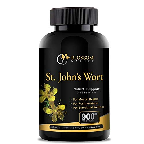 St.John's Wort 900mg Supplement-Natural Antidepressant for Mood Boost, Anxiety & Depression Support-Provides Extended Stress Relief-120 capsules, 450mg of St Johns Wort with 0.3% Hypericin per Capsule