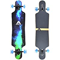 Apollo Longboard Galaxy Special Edition Board complet con rodamientos de Bolas High Speed ABEC Drop Through Freeride Skate Cruiser Boards Color: Cielo repleto de Estrellas/Verde…