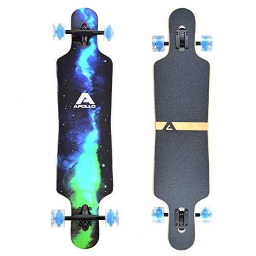 Apollo Longboard Galaxy Special Edition Komplettboard mit High Speed ABEC Kugellagern, Drop Through Freeride Skaten Cruiser Boards Farbe: Sternennebel/Grün