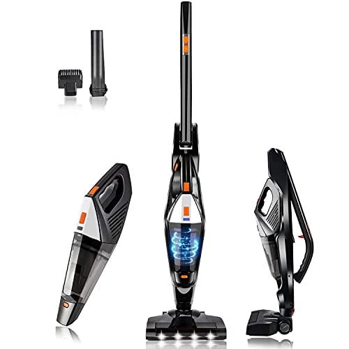 Hikeren Aspiradoras Escoba, Aspiradora Escoba Hogar, 12000 PA, Aspirador Mano Sin Cable, con 4 X Luces LED, 2 Velocidades, Batería de 3000mAh, Lavable Filtro HEPA, 2 Cepillos