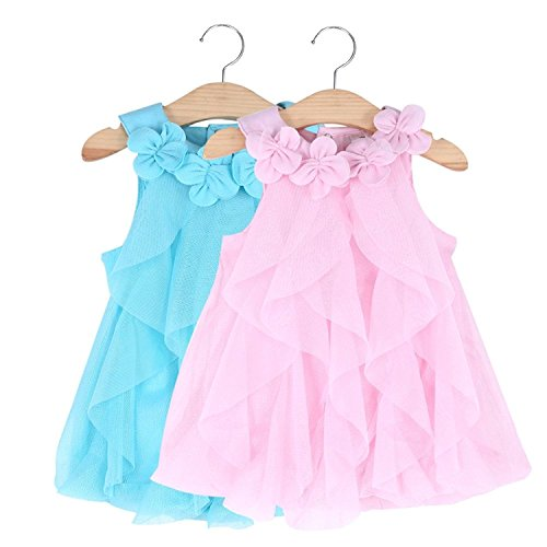 WZSYGDTC Flower Girls Baby Dresses Infant Christmas New Year Easter Formal Rompers Dress (Blue,6M)