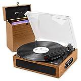 Fenton RP170L Platine Vinyle Bluetooth avec Valise de Rangement - Bois Clair, Tourne Disque avec Haut-parleurs intégrés, adaptée pour disques 33, 45 et 78 Tours, Sortie Ligne et Casque