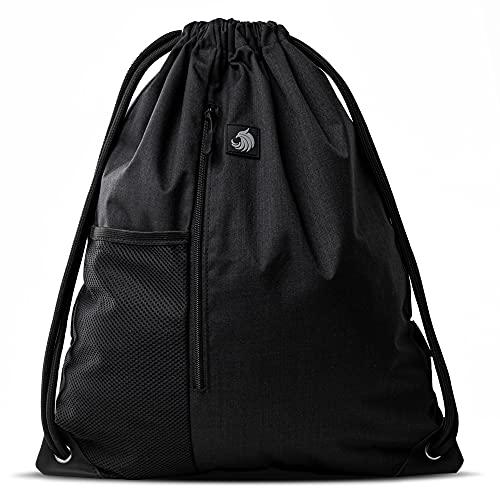 Fitgriff® Turnbeutel für Damen & Herren, Sportbeutel, Gym Bag, Rucksackbeutel, Beutel für Sport, Fitness & Freizeit (Full Black)