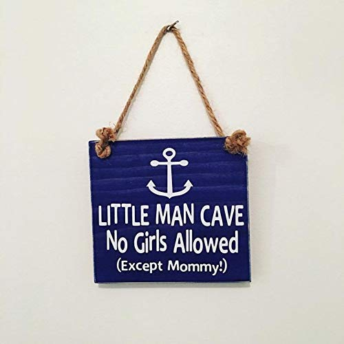 Little Man Cave No Girls Allowed - Anchor - Door Sign - Gift for Baby Shower Nautical Nursery