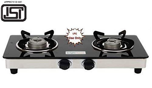 Bright Flame Stainless Steel Compact 2 Burner Glass Top Gas Stove...