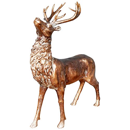 Large 62cm Stag Ornament - Made From Resin - Aged/Rustic Bronze Colour Reindeer - Tall Deer Home Decoration