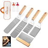 HOMENOTE Griddle Accessories, 7Pc Professional BBQ Kit in Gift Box - Heavy Duty Wooden Handle...