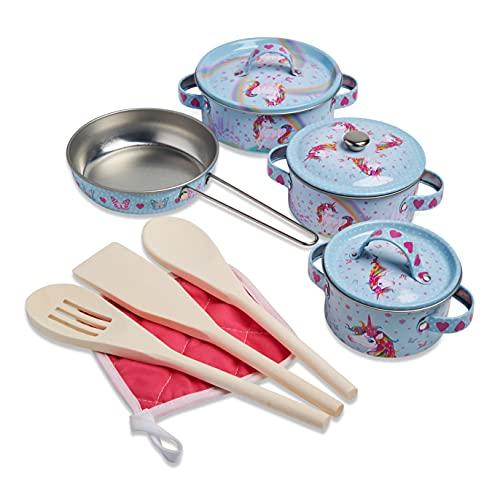 Wobbly Jelly - Set da cucina 'Unicorno Sogno' per bambini - Set giocattolo da 11 pentole e padelle per bambini - Accessori giocattolo da cucina
