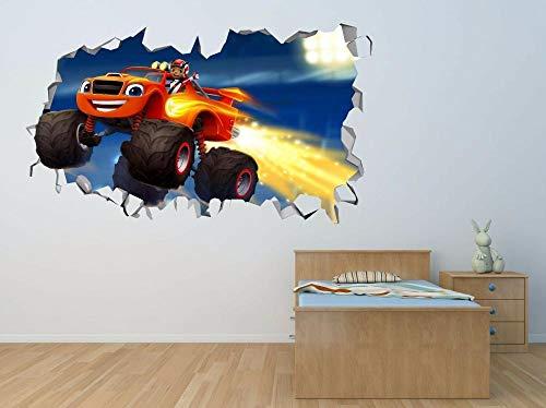 LMMLYR 3D Pegatinas de pared Deco de aplastamiento de máquinas de llamas y monstruos 3D Adhesivo Decorativo para Pared Pegatinas Decorativas Pared Para Niños Decoración de la Pared Stickers