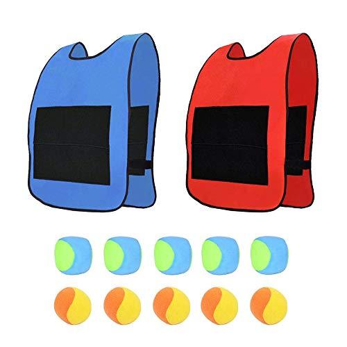 AiYoYo Wurfspiele Spielzeug Set 2 Oxford Tuch Sticky Weste(52x38cm) mit Klettverschluss und 10 Dodgeball, Outdoor Spielzeug beim Strände Parks (L)