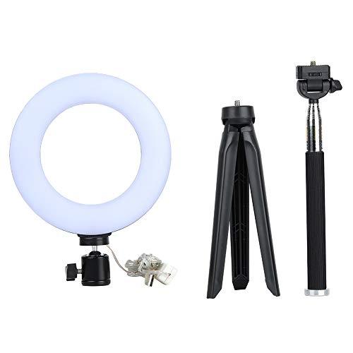 Dimbaar led-ringlicht, 6 inch instelbare Vanity Studio selfie videolive lamp met statief, 3 kleuren verlichtingsmodus