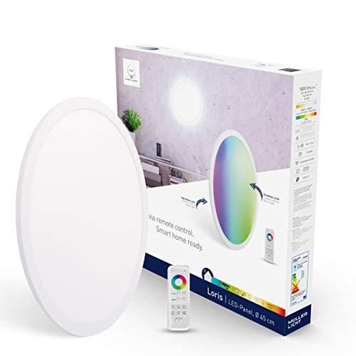 tint von Müller-Licht Smartes LED-Panel Loris rund, Ø 45cm, white+color (Weißtöne 1800-6500K & farbiges Licht RGB), direktes + indirektes Licht, 1300 lm, Zigbee, inkl. Fernbedienung