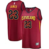 THDB Camiseta de baloncesto personalizada LeBron Cleveland NO.23 Rojo, Cavaliers James Fast Break réplica jugador Jersey marrón secado rápido sudadera para hombres - Icon Edition