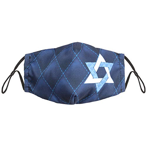 Hanukkah Star of David Adult Size Cloth Face Mask - Cute, Washable, & Reusable Nose & Mouth Protection - Breathable Cotton Inner, Poly Outer - Holiday Safety Fashion for Teens & Parents