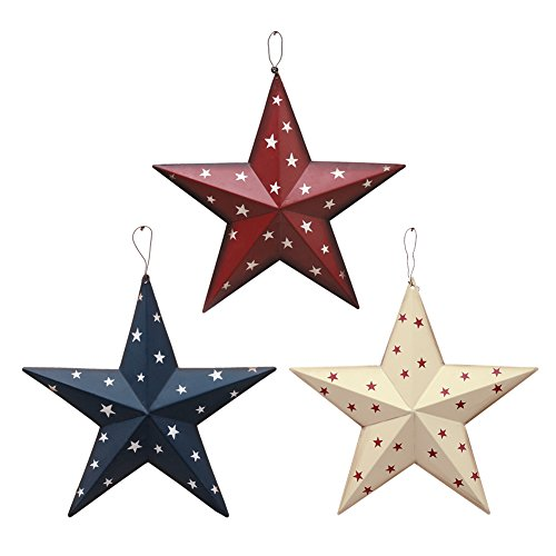 Attraction Design Patriotic Metal Barn Star Wall Decor, 12inch Hanging Country Rustic Metal Star for July 4th Decoration