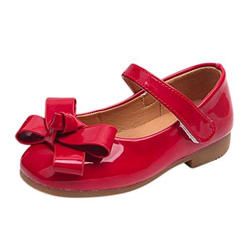 Kinder Ballerinas 🔥LMMVP🔥Babyschuhe Kinderschuhe Sommer Schuhe Mädchen Lackschuhe Sandalen Flower Prinzessin Lederschuhe Kinder Sandalen Halbsandalen (3.5-10Jahr) (Rot, 30(5.5-6Jahr))