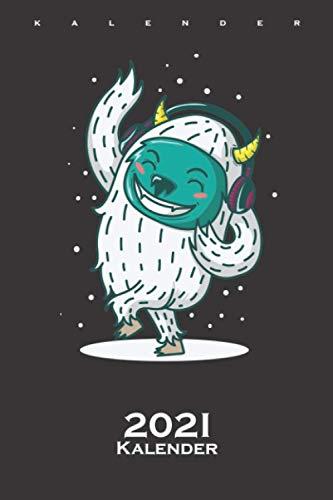 Yeti Eismonster hört im Winter Musik und tanzt Kalender 2021: Jahreskalender für Freunde der kühlen und eisigen Jahreszeit