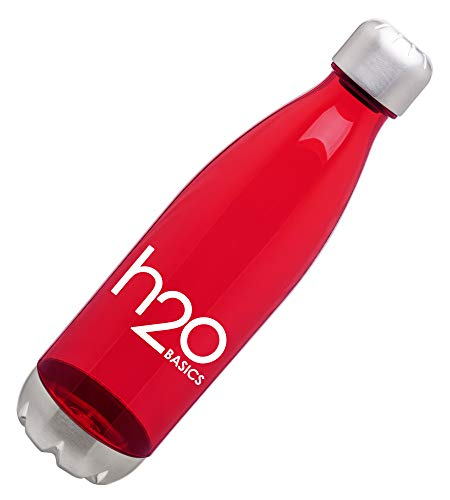 BPA-Free Sport Water Bottles 25 oz, Tritan Non Toxic Plastic, Reusable Flask with Stainless Steel Leak Proof Twist Off Cap & Steel Base, Cola Bottle Shape (Assorted Colors, 25 Ounces) (Red)