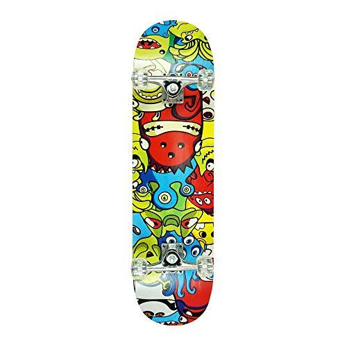 Komplette Skateboard 31 x 8.0 - Color Monsters (Complete Skateboard) fur Kinder ab 5 Jahre und für anfänger. Mit ABEC 7 kugellager.
