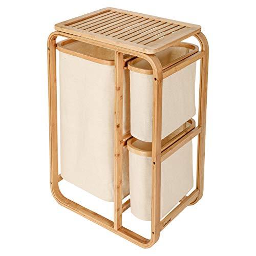 Lumaland Mueble de baño en Bambú con Cestos para la Colada - Estante para Ropa Sucia con 1 Cesto XL y 2 Cestos Compactos - Estantería de Baño para Lavandería - Beige