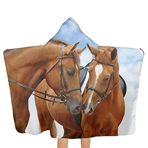 VVSADEB Beautiful Hores - Toallas con capucha para niños, ultra suaves, extra grandes, de secado rápido, toallas de baño con capucha para niños y niñas (tamaño único)