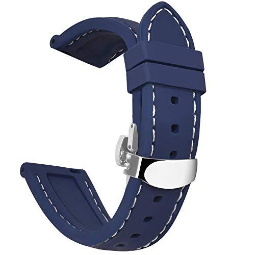 OLLREARUnisex SiliconaCorrea Reloj Hebilla de Mariposa8 Colores 5 Tallas 22mm Azul Marino
