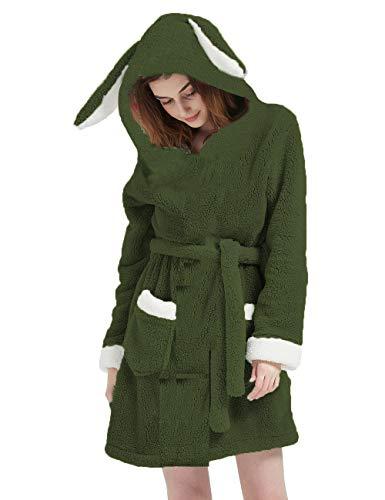 CASODA フラシ天ローブ 大人用 レディース フード付き シェルパ バスローブ ウサギ 動物 ふわふわ ローブ 寝間着 ホームウェア 居心地の良いフリース US サイズ: X-Large カラー: グリーン