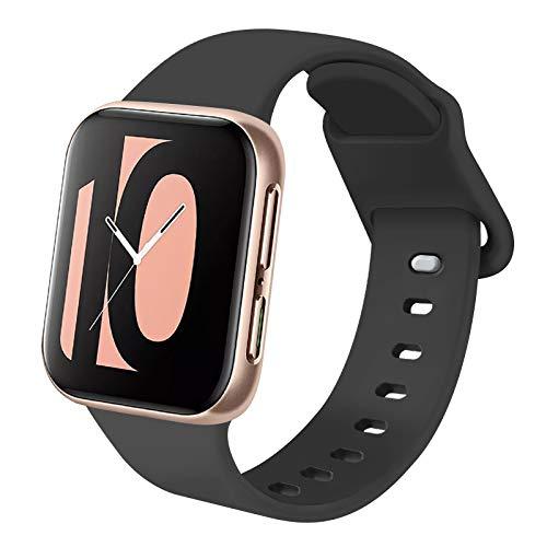 AK Kompatibel mit Apple Watch Armband 38mm 42mm 40mm 44mm, Weiche Silikon Ersatz Armband Kompatibel mit iWatch Series 6, 5, 4, 3, 2, 1, SE (Schwarz, 42mm/44mm-S/M)