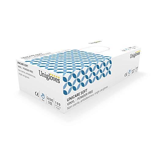 UNIGLOVES Unicare GS0083 Guantes de Examen de Vinilo, Azul, Talla M (Paquete de 100 Guantes Individuales)