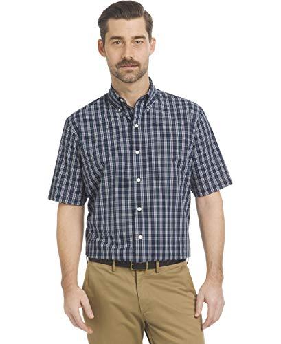 BUTTONED DOWN Men's Tailored Fit Indigo Denim Cotton Sport Shirt, Medium Blue, Large Tall