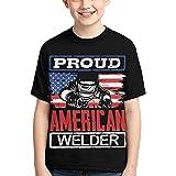 American Welder - Proud Welding Boy Kid Teen Tshirt Clothing Casual Tops Cool Clothes Black