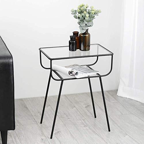 Mesa de centro moderna de metal nórdico, mesa auxiliar de cristal, mesa de centro de metal nórdico, mesita de noche pequeña para sala de estar, oficina, dormitorio, mesa auxiliar