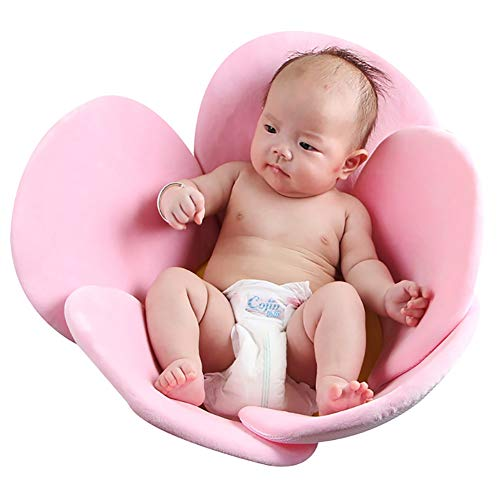 Qiaogeli Baby Bath Cushion Sink Bather, Soft Bathtub Mat for Infant Bathing Tub Seat Support,Machine Washable,5-Petal Flower