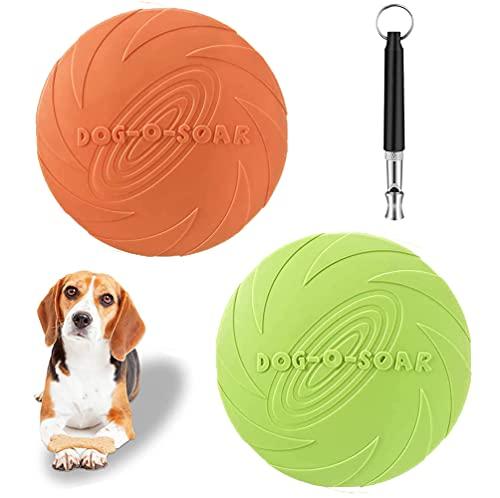 Frisbees de Perro, Perros interactivos Frisbee,Juguete de Disco Volador para Perro, para Perros y Pelota para Perros, Ideal para Entrenar, lanzar(Verde, Naranja)