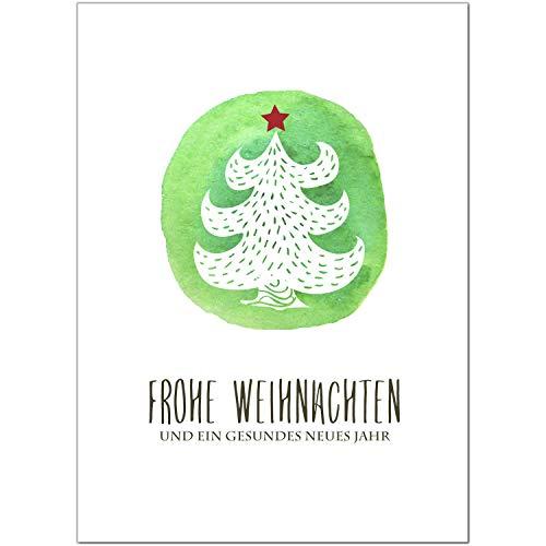 15 x moderne Weihnachtskarten mit Umschlag, Motiv Tanne Aquarell Modern (grün, schlicht, edel) im Postkarten Format/Weihnachten/Weihnachtspostkarte