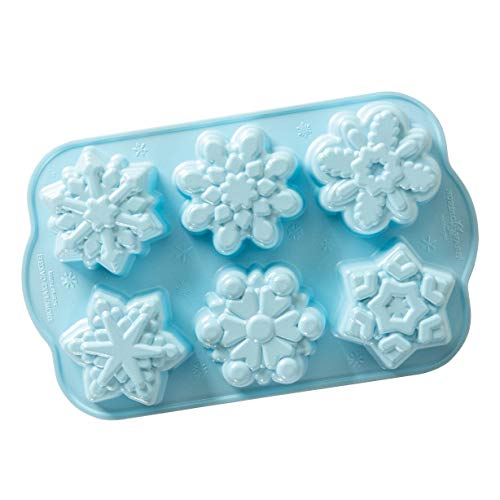 Nordic Ware Backform, Kuchenform, Schneeflocke, 6 verschiedene Muffin-Formen, Winter blau, Aluminium, Antihaft, NW 89642