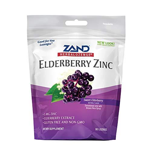 Zand HerbaLozenge Elderberry Zinc   Good-for-You Lozenges for Dry Throats   No Corn Syrup, No Cane Sugar, No Colors   80 Lozenge Bag