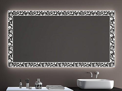 SARAR Badspiegel LD406 Exklusiv mit Laser Gravur Technik A++ LED Beleuchtung - (B) 50 cm x (H) 50 cm - Made in Germany - Badezimmerspiegel Lichtspiegel Spiegel beleuchtet
