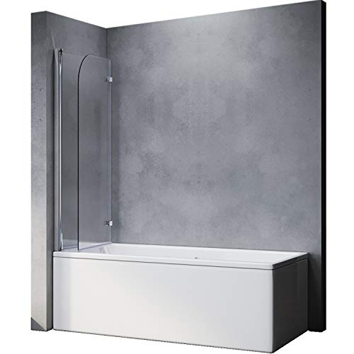 Elegant Duschtrennwand 120x140 cm(BxH) Duschwand für Badewanne badewannenfaltwand 2-teilig Faltbar 6 mm NANO-GLAS Duschabtrennung Badewanne