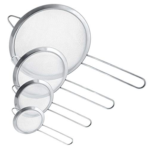 """U.S. Kitchen Supply - Set of 4 Premium Quality Fine Mesh Stainless Steel Strainers - 3"""", 4"""", 5.5"""" and 8"""" Sizes - Sift, Strain, Drain and Rinse Vegetables, Pastas & Tea"""