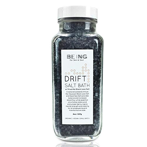 LIVE BY BEING Black Lava Salt & Dead Sea Salt Bath Soak – All-Natural, Vegan, Handmade, Organic Essential Oils for Muscle Aches, Mineral Rich Skin Hydration, Calming Relaxation & Restful Sleep