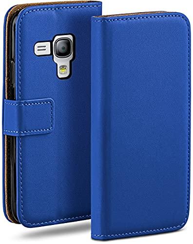 moex Klapphülle kompatibel mit Samsung Galaxy S3 Mini Hülle klappbar, Handyhülle mit Kartenfach, 360 Grad Flip Hülle, Vegan Leder Handytasche, Blau