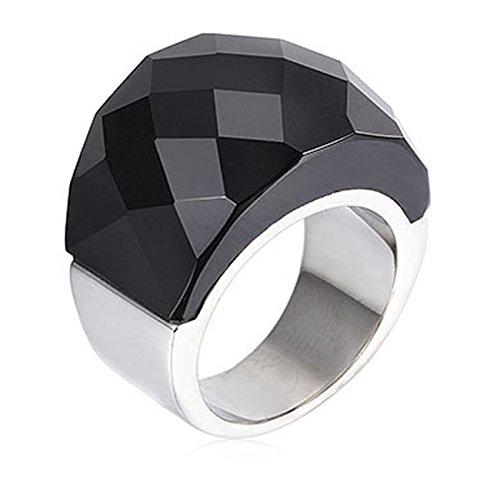 NELSON KENT Damen Edelstahl Halbe Pack Transparente Glas Ring Silber Schwarz Größe59(18.8)