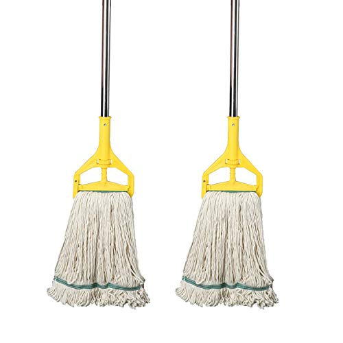 OFO Loop-End String Wet Mop, Heavy Duty Commercial Industrial Dust Mop, 67inch Stainless Steel Pole,2- Pack
