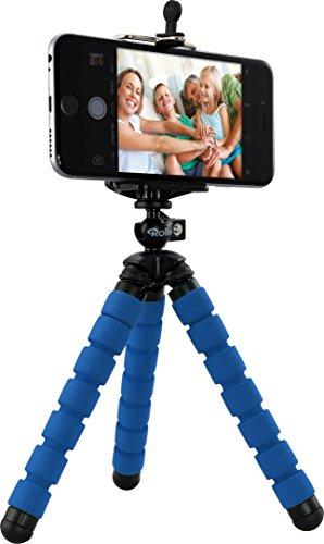 Rollei Selfie Mini Stativ - Flexibles Stativ mit rutschfesten Gummifüßen, inkl. Smartphone-Adapter und Kugelkopf, biegbar, wickelbar, faltbar - Blau