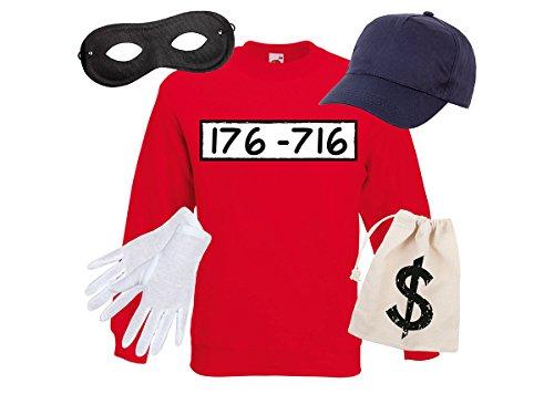 Alsino Panzerknacker Fan Kostüm Outfit Maske Set Cap Handschuhe Einbrecher Bankräuber Verkleidung, Größe wählen:M, Variante wählen:Sweatshirt/Cap/Maske/Handsch/Beutel