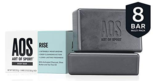 Art of Sport Body Bar Soap (8-Pack), Rise Scent, with Activated Charcoal, Tea Tree Oil, and Shea Butter, 3.75 oz