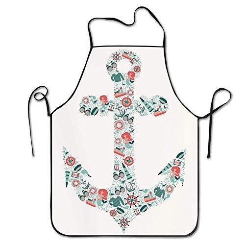 Pag Crane Anker nautische Symbol Form mit Fernglas Latzschürze Unisex langlebig waschbar zum Kochen Backen Küche Restaurant basteln