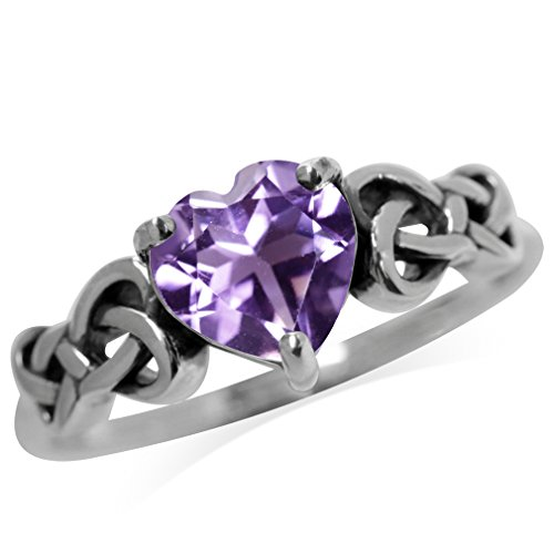 Silvershake 1.04ct. Natural Heart Shape Amethyst 925 Sterling Silver Celtic Knot Ring Size 8.5